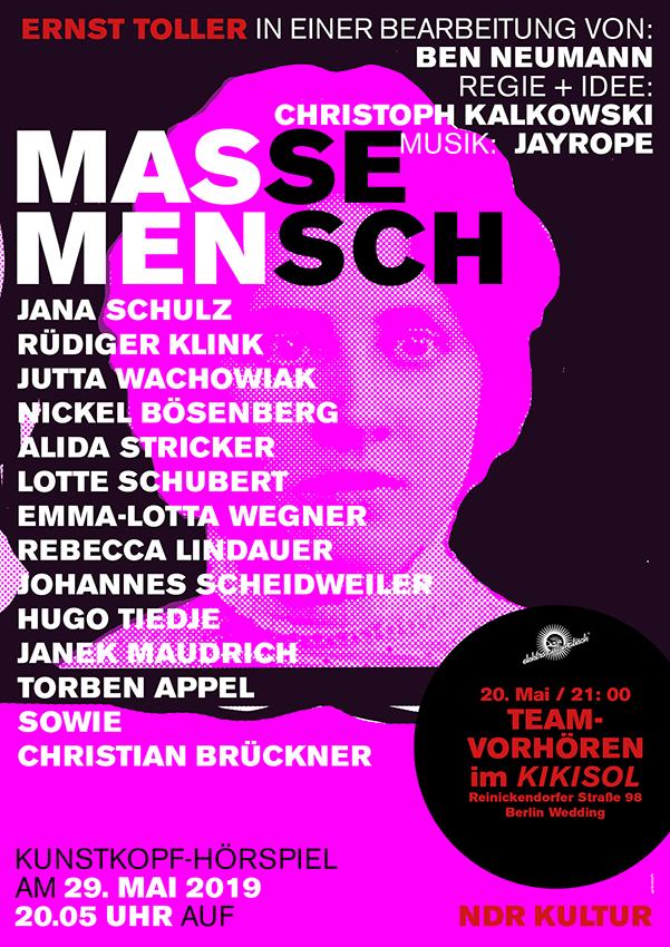 """Hörspiel """"Masse – Mensch"""""""
